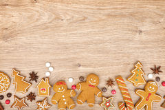 Homemade various christmas gingerbread cookies Royalty Free Stock Images