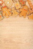 Homemade various christmas gingerbread cookies Royalty Free Stock Photography