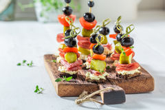 Homemade various cold snacks with fresh ingredients for party Royalty Free Stock Image