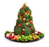 Homemade vegan holiday vegetable platter with broccoli Christmas tree Royalty Free Stock Photos