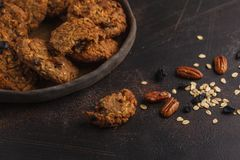 Homemade Vegan Oatmeal Cookies With Raisins, Pecans And Dates. H Royalty Free Stock Images