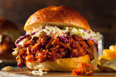Homemade Vegan Pulled Jackfruit BBQ Sandwich. With Coleslaw and Chips royalty free stock photos