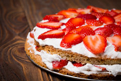 Homemade vegan strawberry layer cake Royalty Free Stock Image