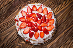 Homemade vegan strawberry layer cake Stock Images