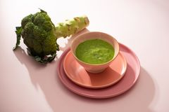Homemade vegetable baby food. Broccoli puree for baby royalty free stock image