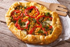 Homemade vegetable pie on a table close-up. horizontal top view Stock Photo