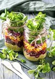 Homemade vegetable salad. In a glass jar Royalty Free Stock Photography