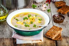 Homemade vegetable soup with broccoli, cauliflower, carrots in a bowl Stock Image