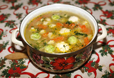 Homemade vegetable soup with brussels sprouts royalty free stock photos