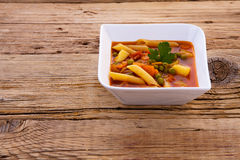 Homemade vegetable soup on wooden Stock Image