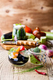 Homemade vegetables preserves. Preserved food concept Royalty Free Stock Photo