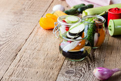 Homemade vegetables preserves. Preserved food concept Stock Photos