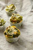 Homemade vegetarian muffins with blue cheese and spinach Royalty Free Stock Photography