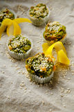 Homemade vegetarian muffins with blue cheese and spinach Stock Photos