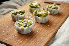 Homemade vegetarian muffins with blue cheese and spinach Stock Photography