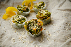 Homemade vegetarian muffins with blue cheese and spinach Royalty Free Stock Images