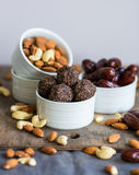 Homemade vegetarian raw sweets without white sugar Royalty Free Stock Photo