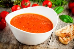 Homemade vegetarian tomato cream soup Stock Images