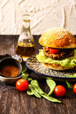 homemade veggie burger in a bun with sesame Royalty Free Stock Photography