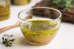 Homemade Vinaigrette with herb Stock Images