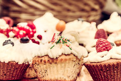 Homemade vintage cakes. With whipped cream and berries Stock Image