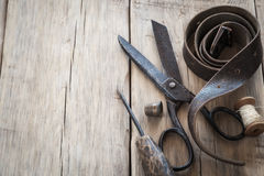 Homemade vintage tools on a wooden background Royalty Free Stock Image