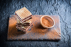 Homemade wafers with nuts and chocolate Royalty Free Stock Images