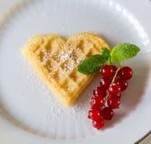 Homemade waffle heart Royalty Free Stock Image