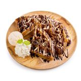 Homemade waffle with ice cream and chocolate sauce Stock Photography