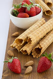 Homemade waffle with strawberry on a wooden surface Royalty Free Stock Photography