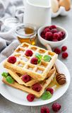 Homemade waffles with berries stock photos