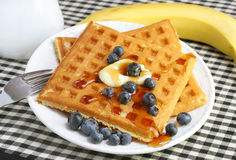 Homemade waffles with blueberries Royalty Free Stock Images