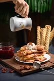Homemade waffles with chocolate royalty free stock images