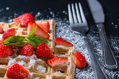 Homemade Waffles with fresh Strawberries Stock Photography
