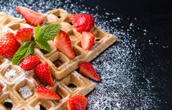 Homemade Waffles with fresh Strawberries Royalty Free Stock Image
