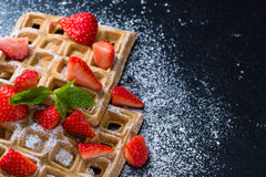 Homemade Waffles with fresh Strawberries Royalty Free Stock Images
