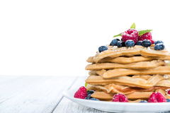 Homemade Waffles with mixed Berries (white background) Royalty Free Stock Images