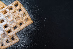 Homemade Waffles with powder sugar Royalty Free Stock Photography