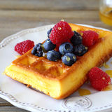 Homemade waffles with raspberries, blackberries, blueberries Stock Image