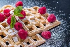 Homemade Waffles with Raspberries Stock Photos