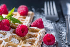Homemade Waffles with Raspberries Stock Images