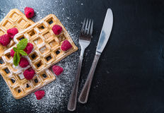 Homemade Waffles with Raspberries. And powder sugar (close-up shot stock images