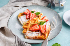 Homemade waffles with strawberries Stock Photos