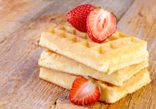 Homemade waffles with strawberries Royalty Free Stock Images