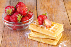 Homemade waffles with strawberries Stock Image