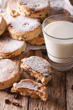 Homemade Welsh cakes with raisins and milk close-up. vertical Stock Photos
