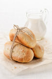 Homemade wheat bread and milk Royalty Free Stock Photos