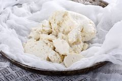Homemade white brined feta cheese royalty free stock photos
