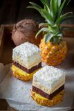 Homemade white cake with pineapple and coconut Stock Photography