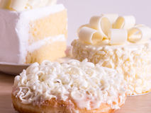 Homemade white chocolate cakes , selective focus. Homemade delicious white chocolate cakes , selective focus Stock Images